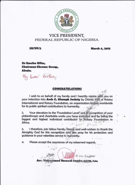 Letter from the Vice President of Nigeria