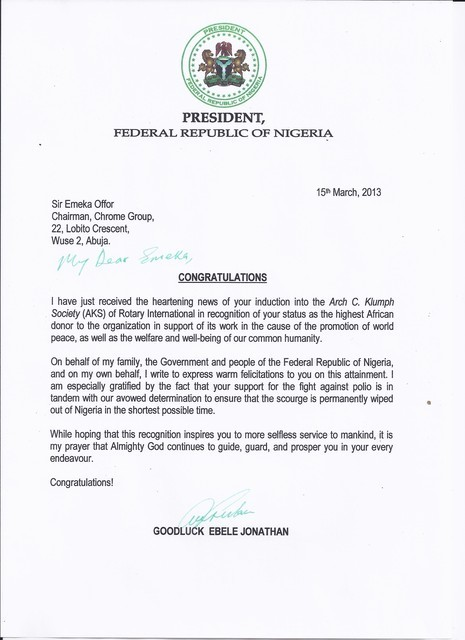 letter of congratulations from president goodluck jonathan
