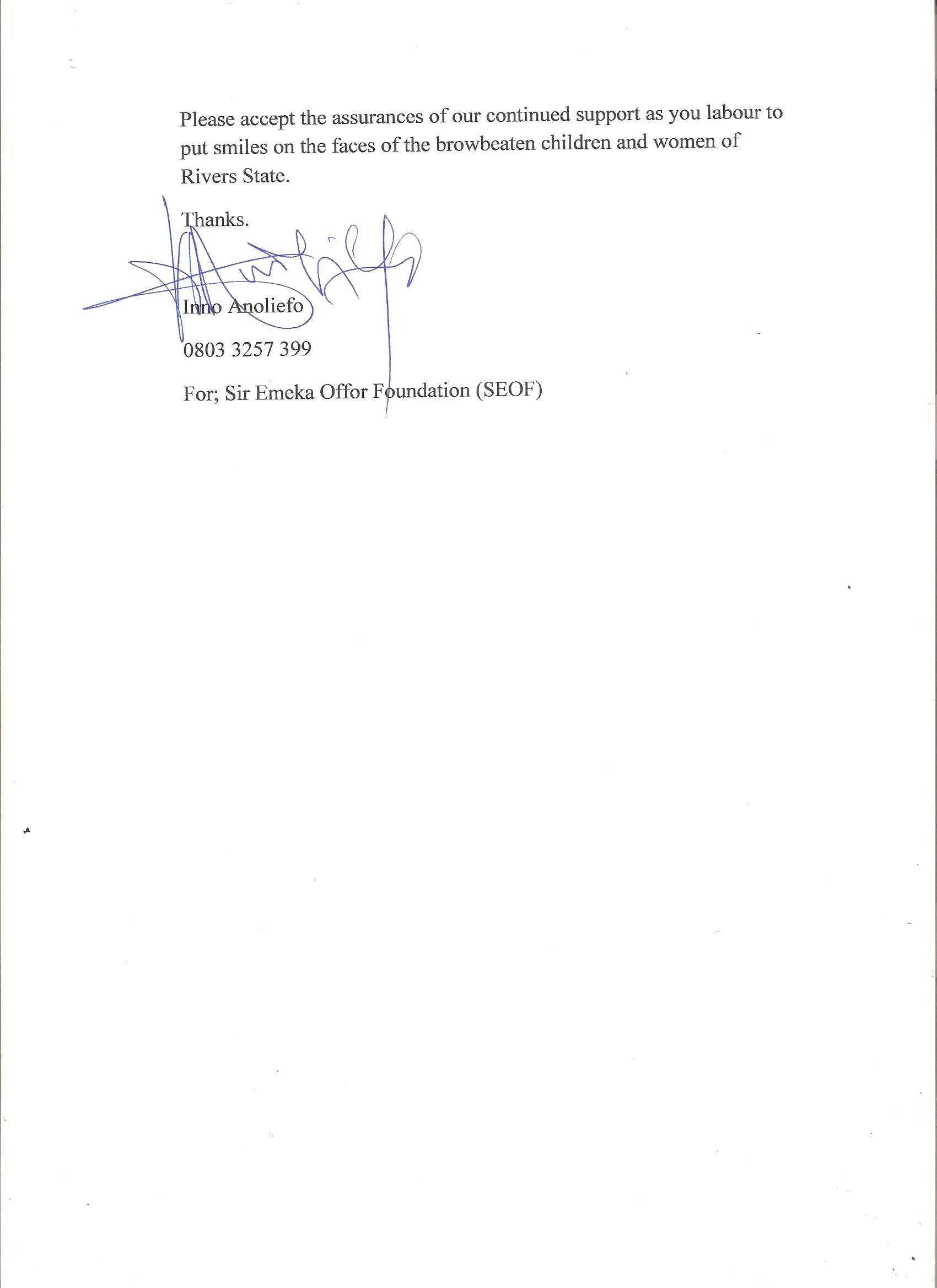 Page 2 of Letter to ESI from Sir Emeka Offor Foundation