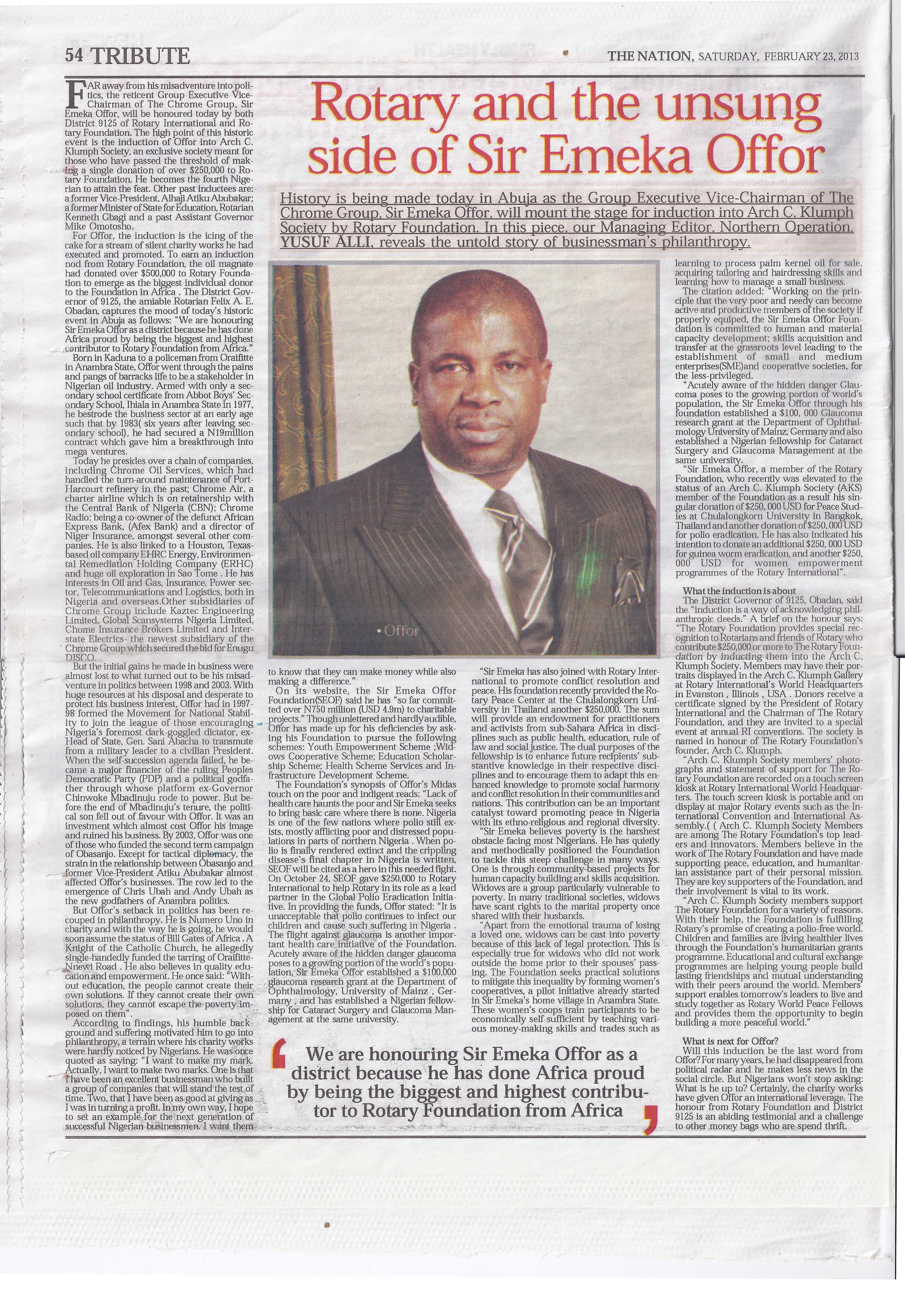 THE NATION: Rotary and the unsung side of Sir Emeka Offor