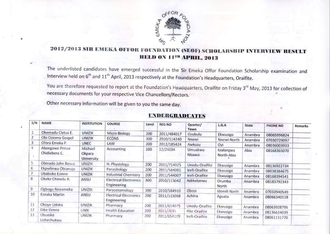 Sir Emeka Offor Foundation Scholarship List