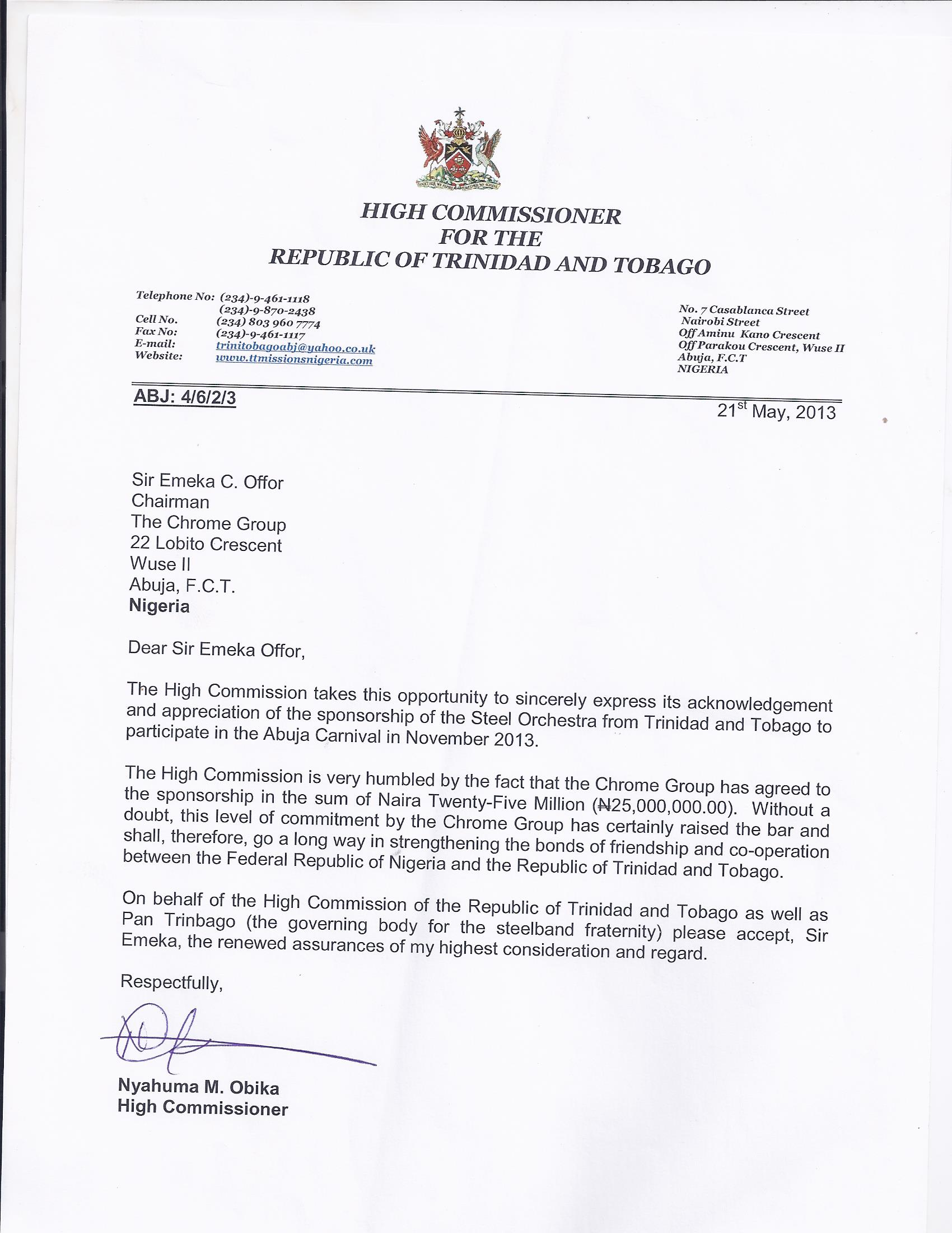 Letter from High Commissioner for the Republic of Trinidad and Tobago