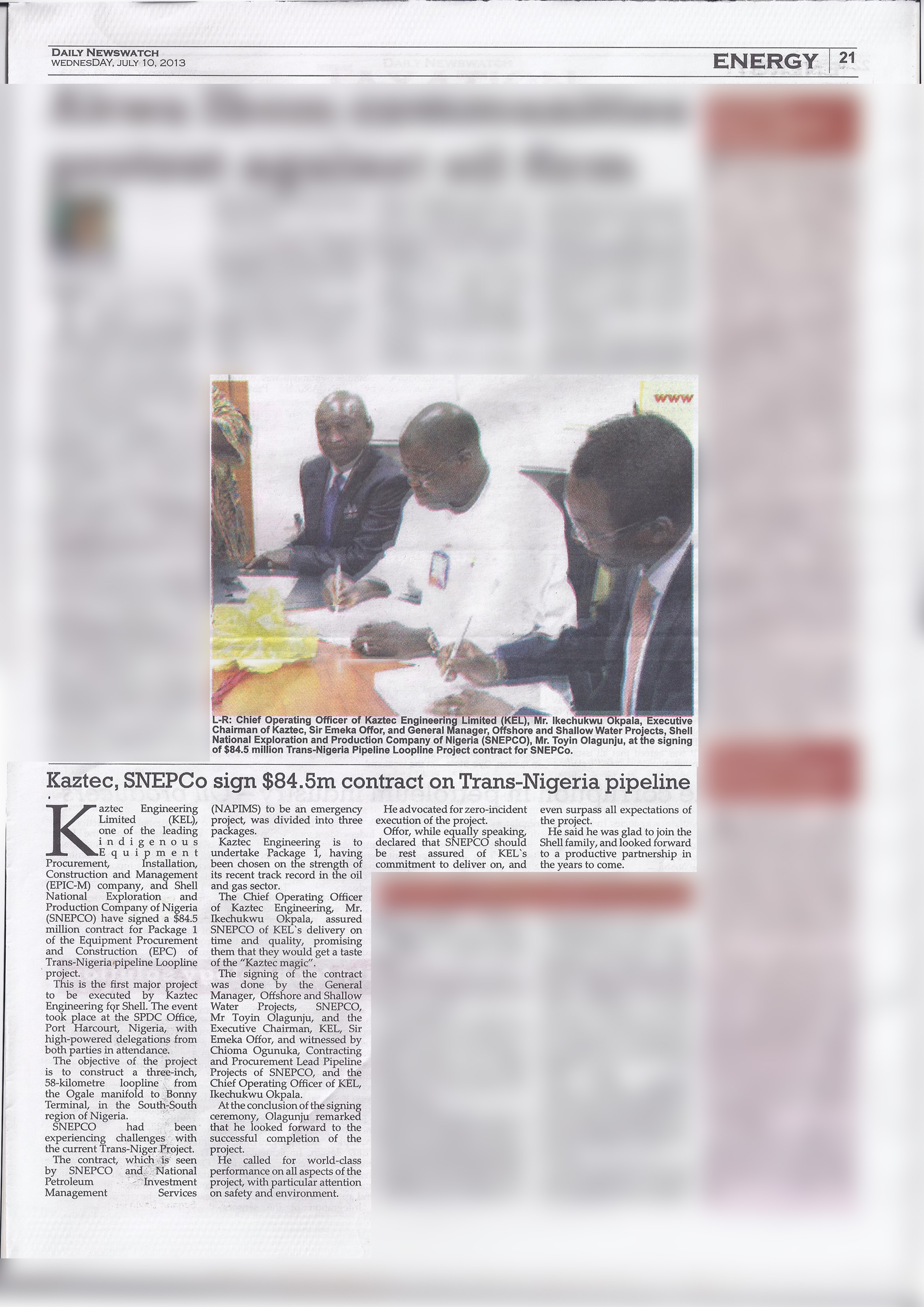 Kaztec, SNEPCO sign $84.5m contract on Trans-Nigeria pipeline