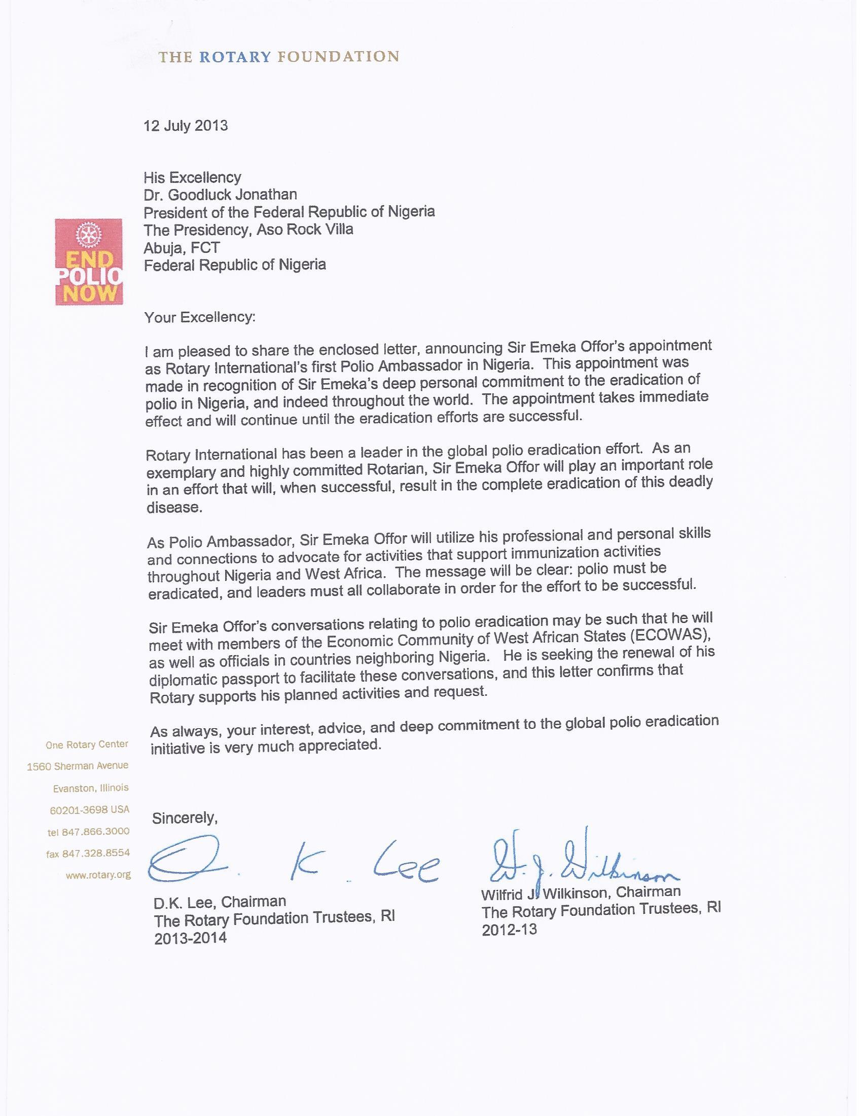 Letter from Rotary International on Polio Eradication