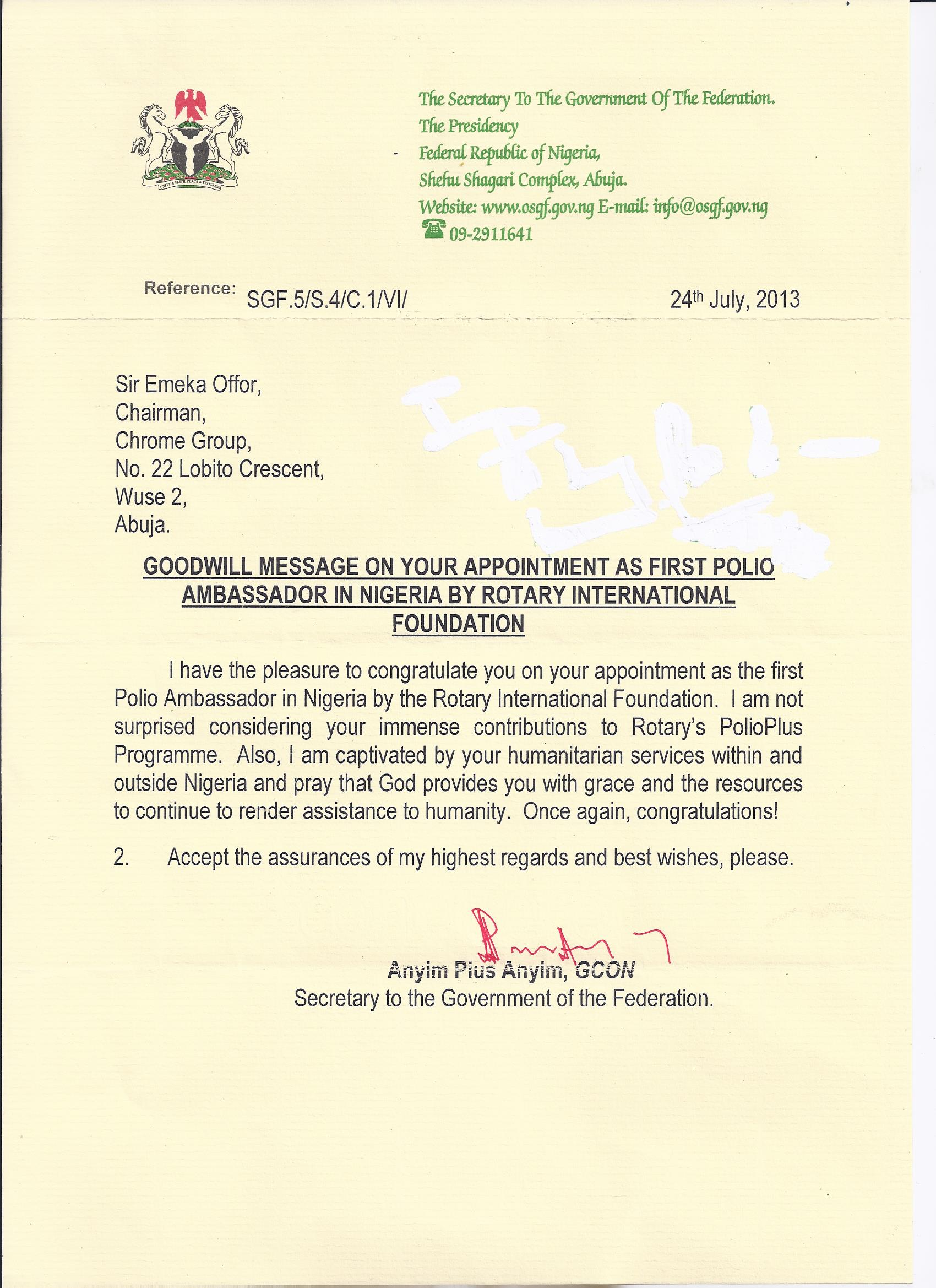 Letter from Secretary to the Government of the Federation