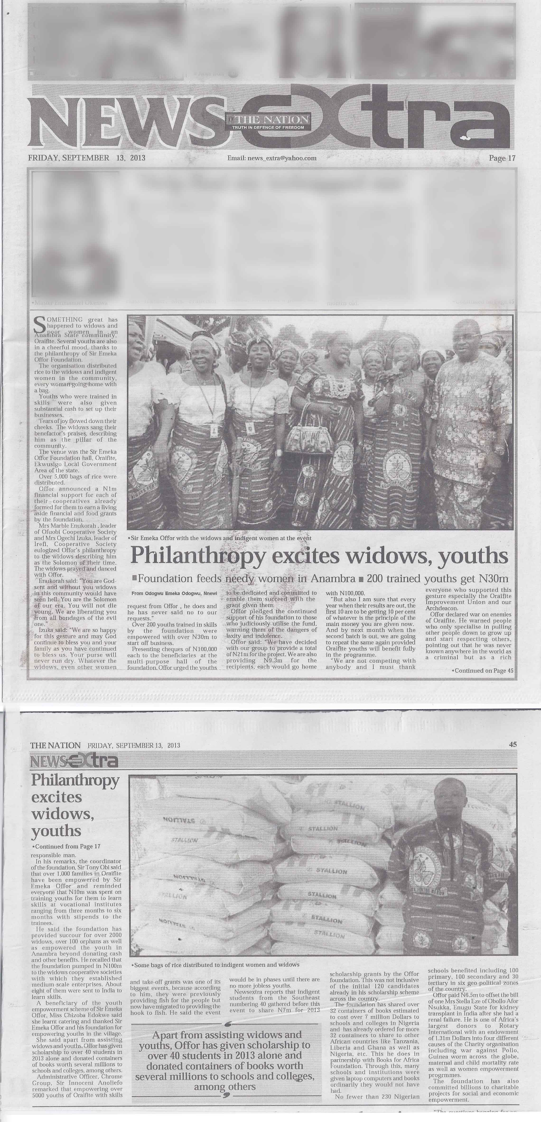 The Nation: Philanthropy Excites Widows, Youths