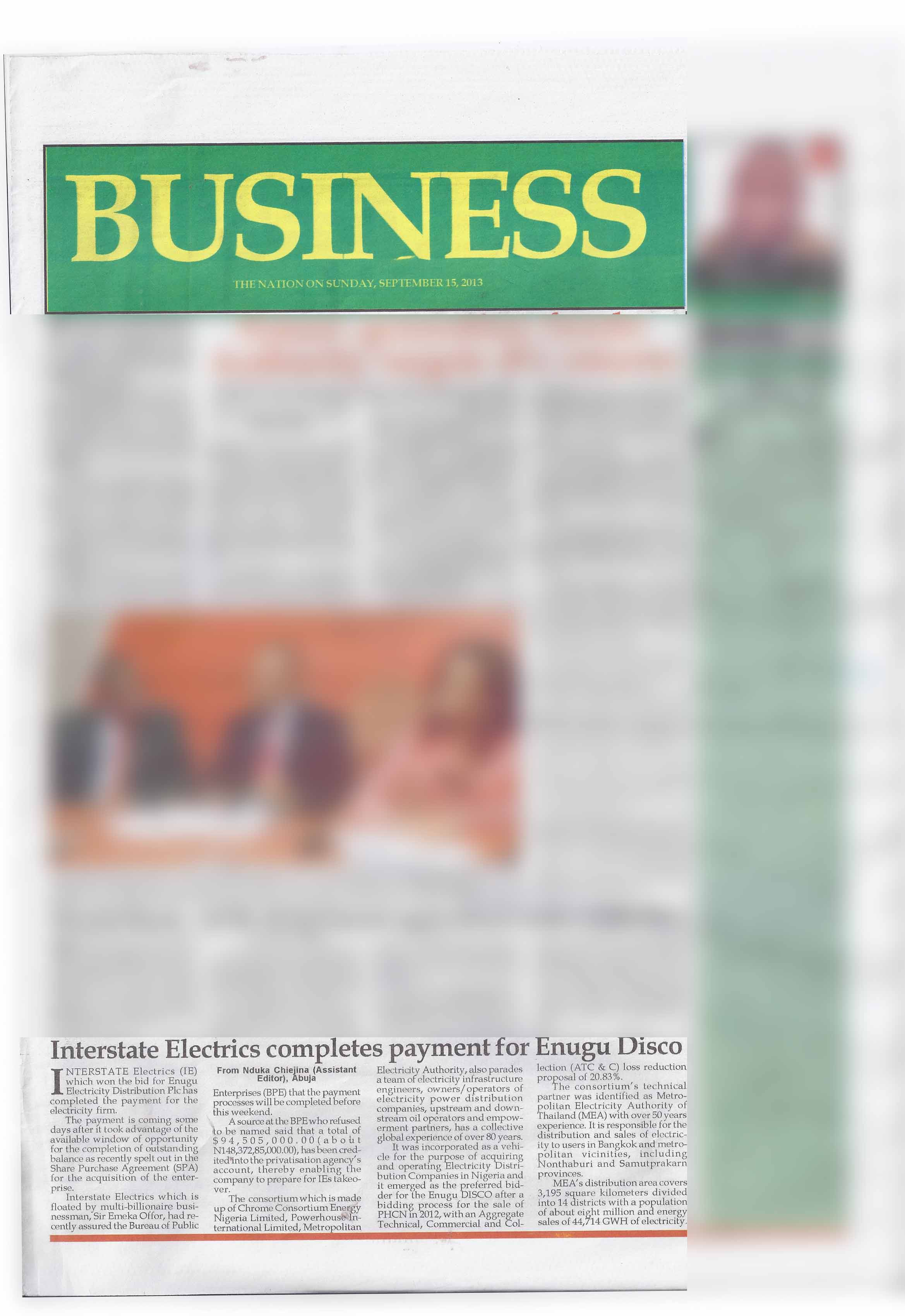 The Nation: Interstate Electrics completes payment for Enugu Disco