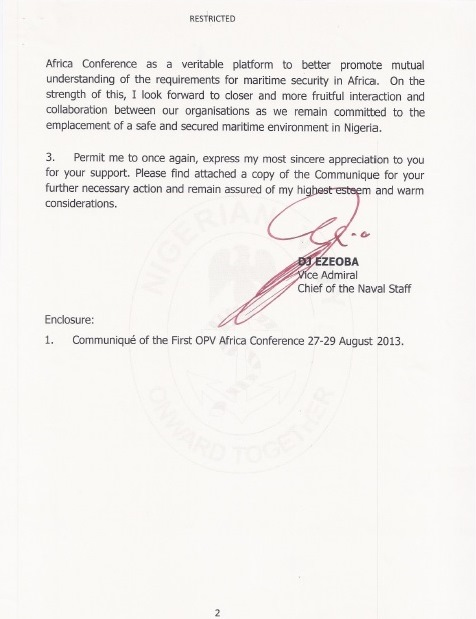 Letter from the Nigerian Navy - 2
