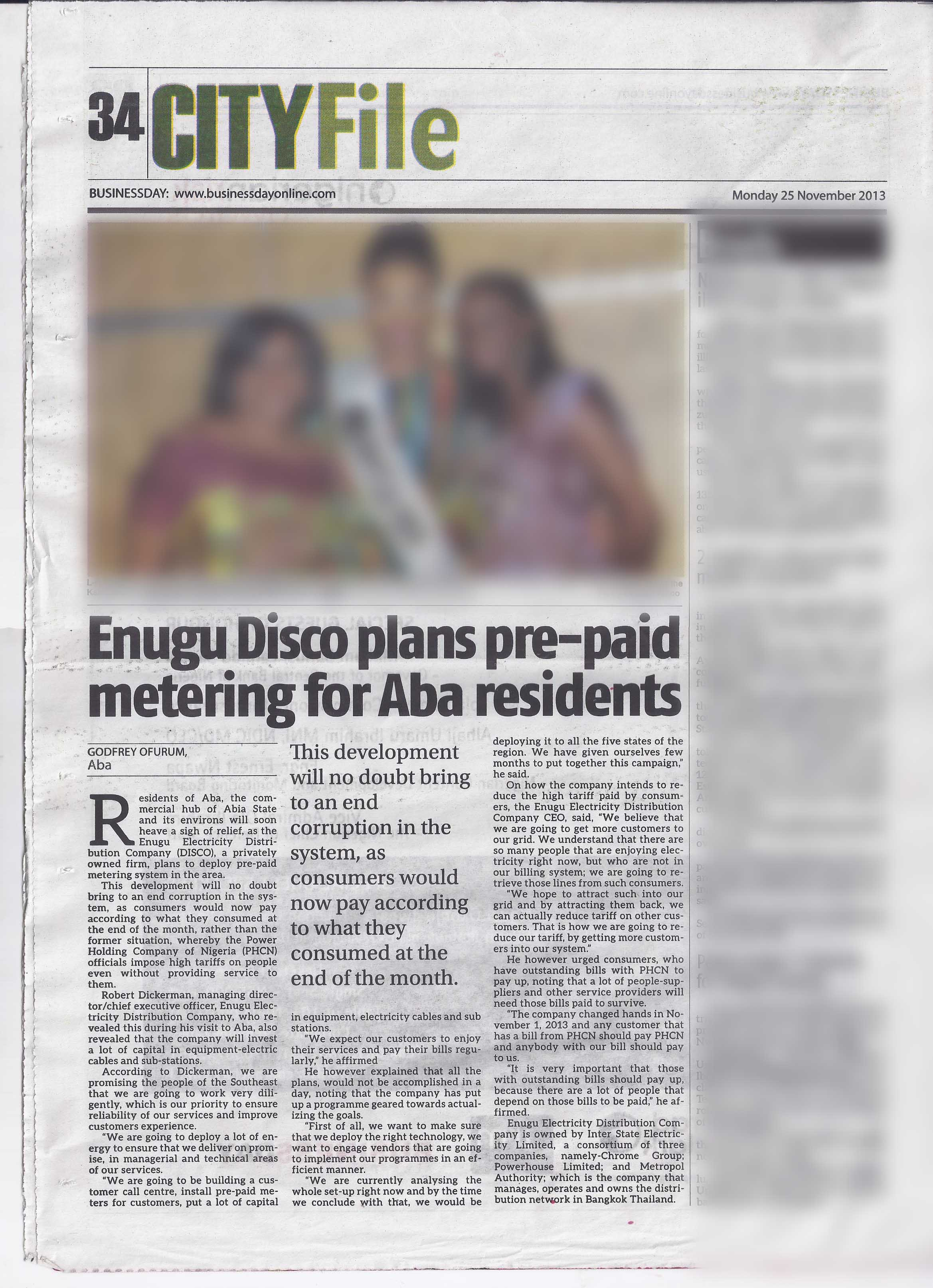 BusinessDay: Enugu Disco plans pre-paid metering for Aba residents