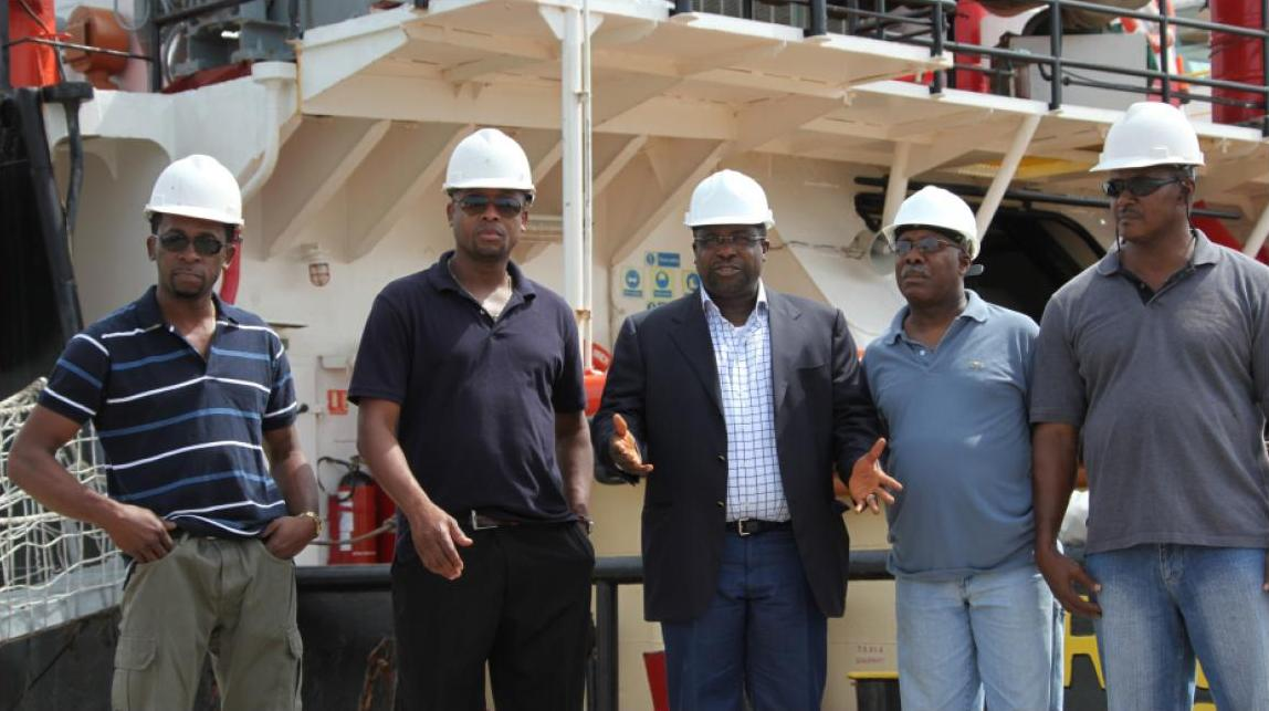 Kaztec Chairman Sir Emeka Offor and crew of both vessels